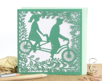 Couple tandem bike card, Cute anniversary card, Valentine's Day card, Love you card, Card for girlfriend, Card for boyfriend, Card for wife