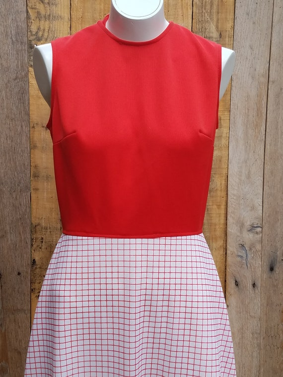 Vintage 1970s Red and Checkered Sleeveless Polyester Dress Square Patterned 1970s Day Dress Plaid Red and Striped Dress