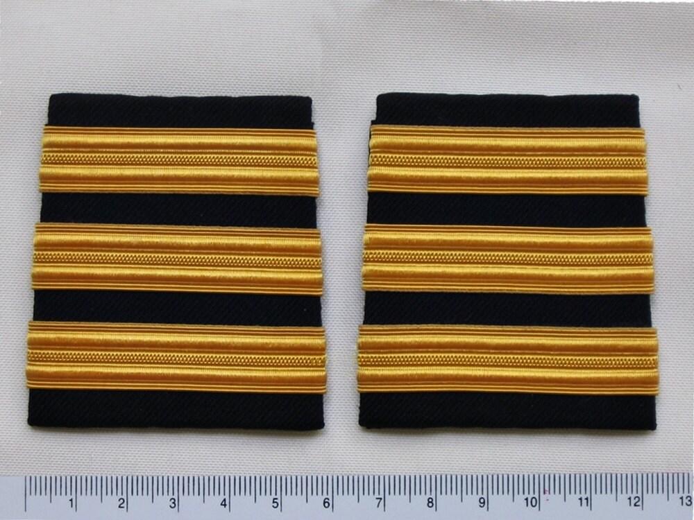 fe50f52f544 3 Bars Pilot Airline Merchant Marine Shoulder Uniform Rank Epaulettes Slide  Black with Rayon Gold Stripes