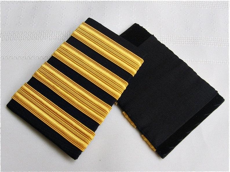 e03a28c2da4 4 Bars Pilot Airline Merchant Marine Shoulder Uniform Rank Epaulettes Slide  Black with Rayon Gold Stripes