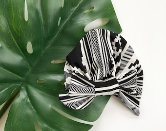 Black and white Baby turban, hat, headwrap