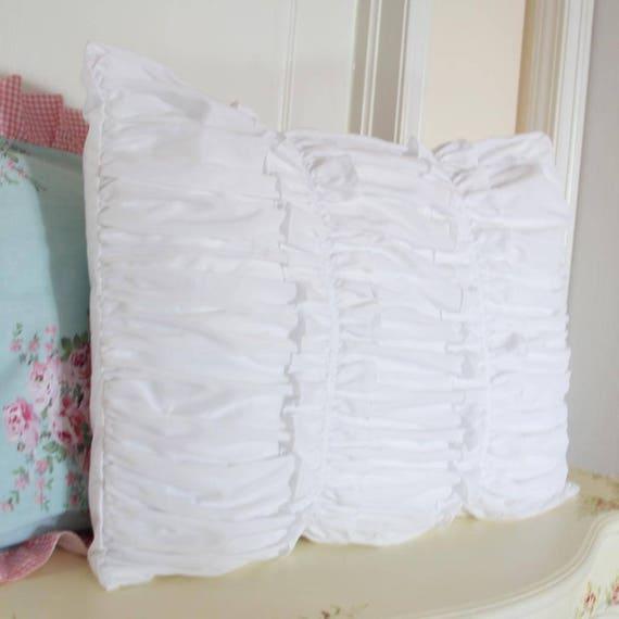 Custom Ruffled Pillow White Eyelet