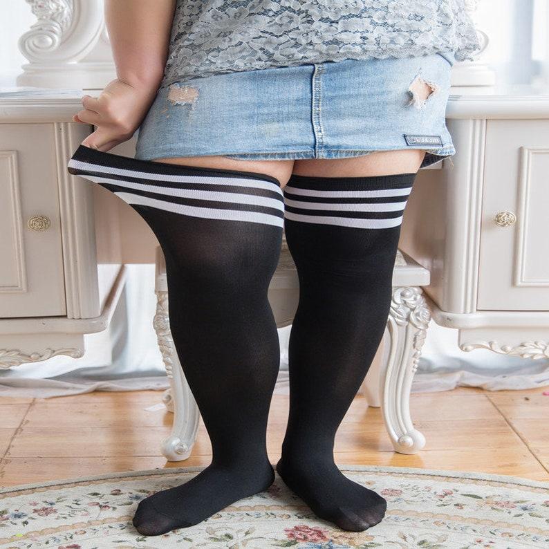 4b637a495eaf9 Plus Size Big Curvy Thigh High Socks | Etsy