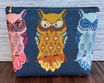 owl cactus zipper pouch
