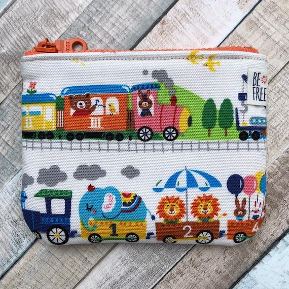 Kid Gift Zippered Kids Change Wallet Card Holder Earbuds Case Coin Purse with Zoo Train Handmade Bunnies Bears Zipper Mini Pouch Bag