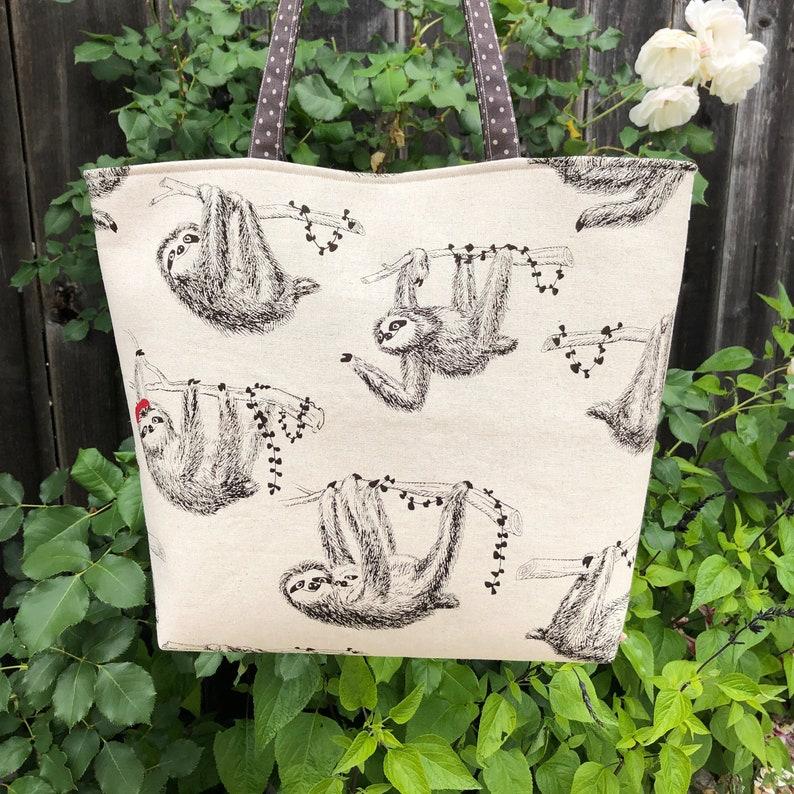 Overnight Travel Carryall Purse Shoulder Project Bag Sloths Wearing Berets Baby Sloths Sloth Tote Bag Handmade Japanese Sloths Fabric