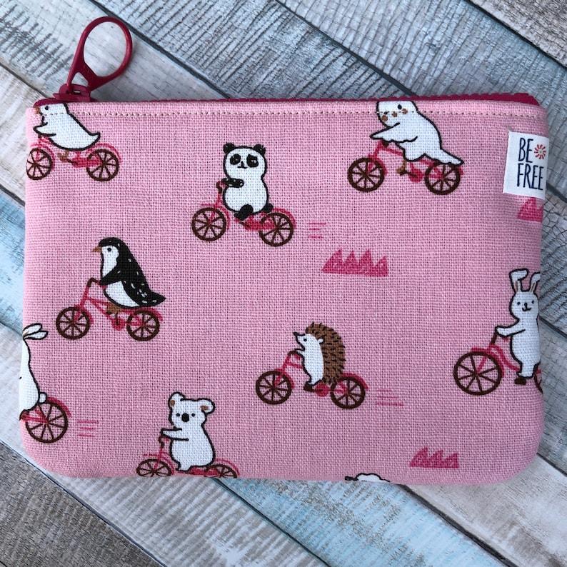 Zipper Earbuds Case Bag Coin Purse with Animals on Bikes Mini Pouch Bird Bear Cat Hedgehog Bunny Card Holder Zippered Change Wallet