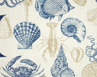 Decorative Pillow Cover / Nautical Pillow Covers / Throw Pillow Covers / Beach Theme / Pillow Case / Sea Creature / Blue & White Covers