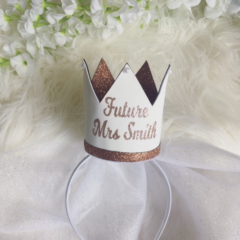 Personalised Rose Gold Glitter And White Glitter Suede Bride To Be Crown  Bachelorette Crown  Personalised Hen Party