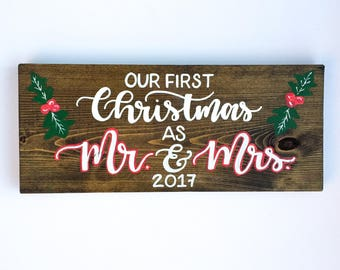 mr and mrs christmas our first christmas wedding gift personalized wedding gift first christmas mr and mrs gift for newlyweds gift wood sign