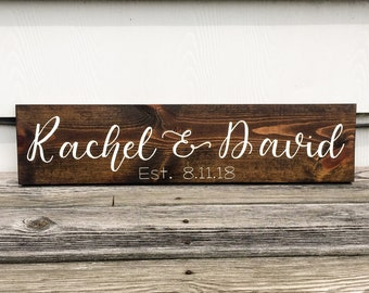 Personalized Wood Sign Personalized Wedding Gift Custom Wedding Gift Bridal Shower Gift Personalized Gift for Wedding Couple Name Sign Wood
