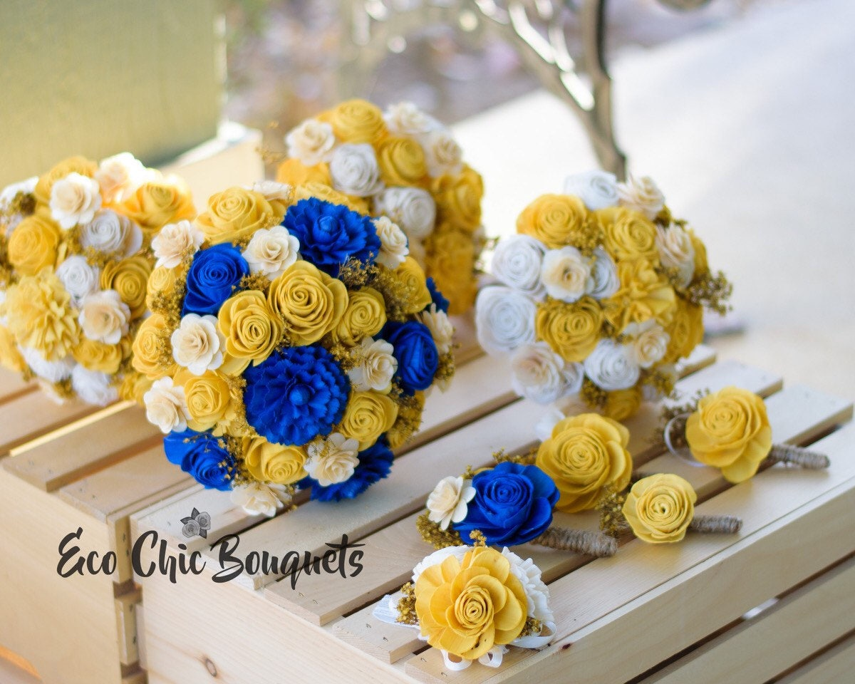 Royal blue yellow beauty wedding bouquets etsy zoom izmirmasajfo