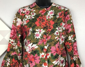 Vintage 1960s Womens Jacket Cropped Floral Flower Power Bell Sleeves Pink S 32