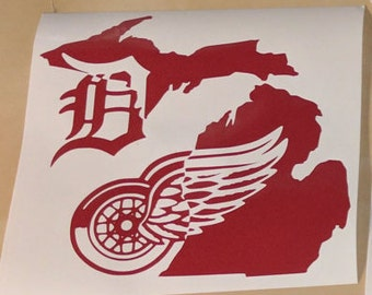 Michigan, D, and Redwings Logo Vinyl Decal