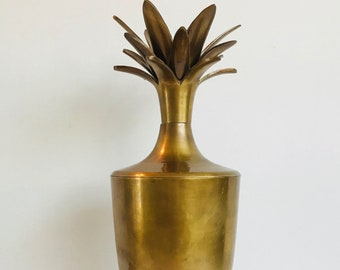 "Large Vintage Brass Pineapple 16"" with Removable Lid Footed Canister Vessel Urn Hollywood Regency Midcentury Modern Mod Regal Home Decor"