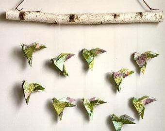 Origami bird wall hanging in succulent green