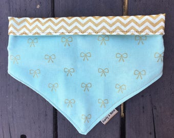 SALE Gold Chevron dog bandana, dog bandana, mint dog bandana, gold and blue dog bandana, spring dog bandana,easter dog bandana,cat bandana
