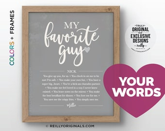 SO UNIQUE Personalized Anniversary Gift My Favorite Guy Things I Love About Husband Boyfriend Birthday Reason Because Card Romantic Cute