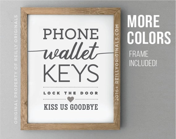 Wallet Phone Keys Cute Home wall art rustic decor Family Love | Etsy