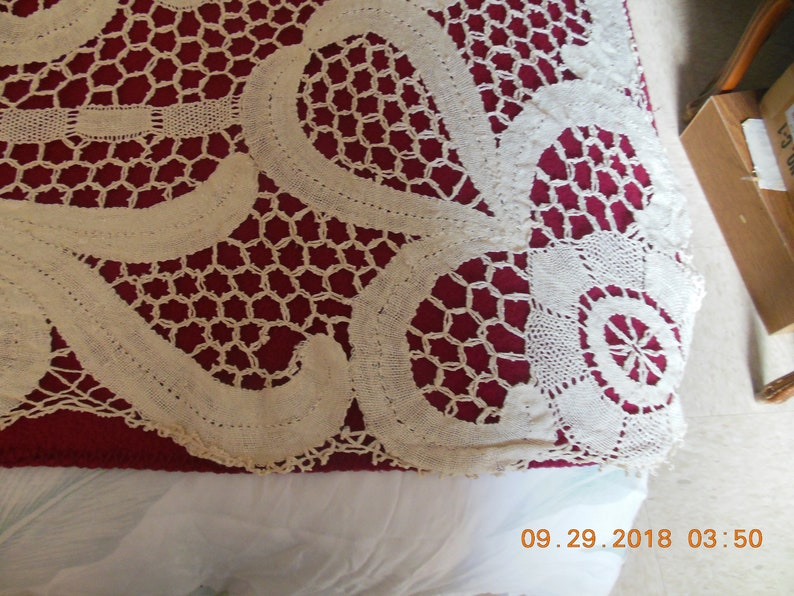 Lace Ecru Table Cloth VintageAntique 48\u201dx58\u201d Approx