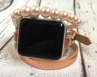 Apple Watch Band 38mm Women Faux Pearl Beaded Rose Gold Apple Watch Bracelet Apple Watch Strap iWatch band 42mm iWatch Strap Vegan Leather