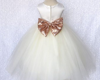 73f976a6c Rose Gold Sequin Bow Ivory Satin 4 Layer Tulle Flower Girl Dress Wedding  Birthday Graduation Pageant Recital Size S M L XL 2 4 6 8 10 12 14