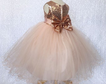 f55f7f7239b Sleeveless Rose Gold Sequence Bow Flower Girl Wedding Birthday Pageant  Graduation Junior Toddler Party Recital Bridesmaid Fall Easter Dress