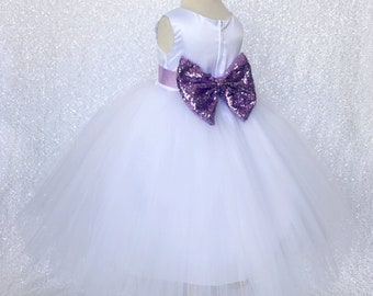 Lilac flower girl etsy formal classic sleeveless white tulle 4 layer sequin bow lilac flower girl gown wedding bridesmaid easter toddler baby birthday easter party mightylinksfo