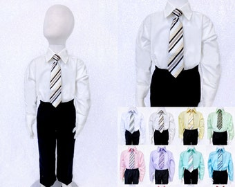 New Boys White Dress Shirt with Tie Long Sleeve Wedding Party Suit Graduation