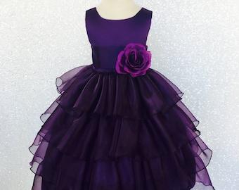 Organza Ruffle Dress w/ Plum Satin Sash Flower Girl Gown Wedding Bridesmaid Elegant Easter Infant Toddler Birthday Recital Graduation Spring