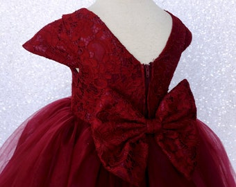 7216b417b6 Floral French Lace Short Sleeve V-Back 3 Layer Tulle Burgundy Dress Wedding  Bridesmaid Flower Girl Graduation Pageant Ceremony Recital Chic