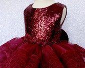 Lace Hem Tulle Ruffle Burgundy Sequin Bow Dress Birthday Party Photoshoot Pageant Recital Graduation Formal Winter Holiday Toddler Newborn