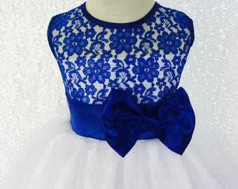 19f6d787e164 Sleeveless Royal Blue Lace Satin Bias Gown Junior Toddler Holiday Christmas  Winter Birthday Pageant Graduation Recital Formal Flower Girl