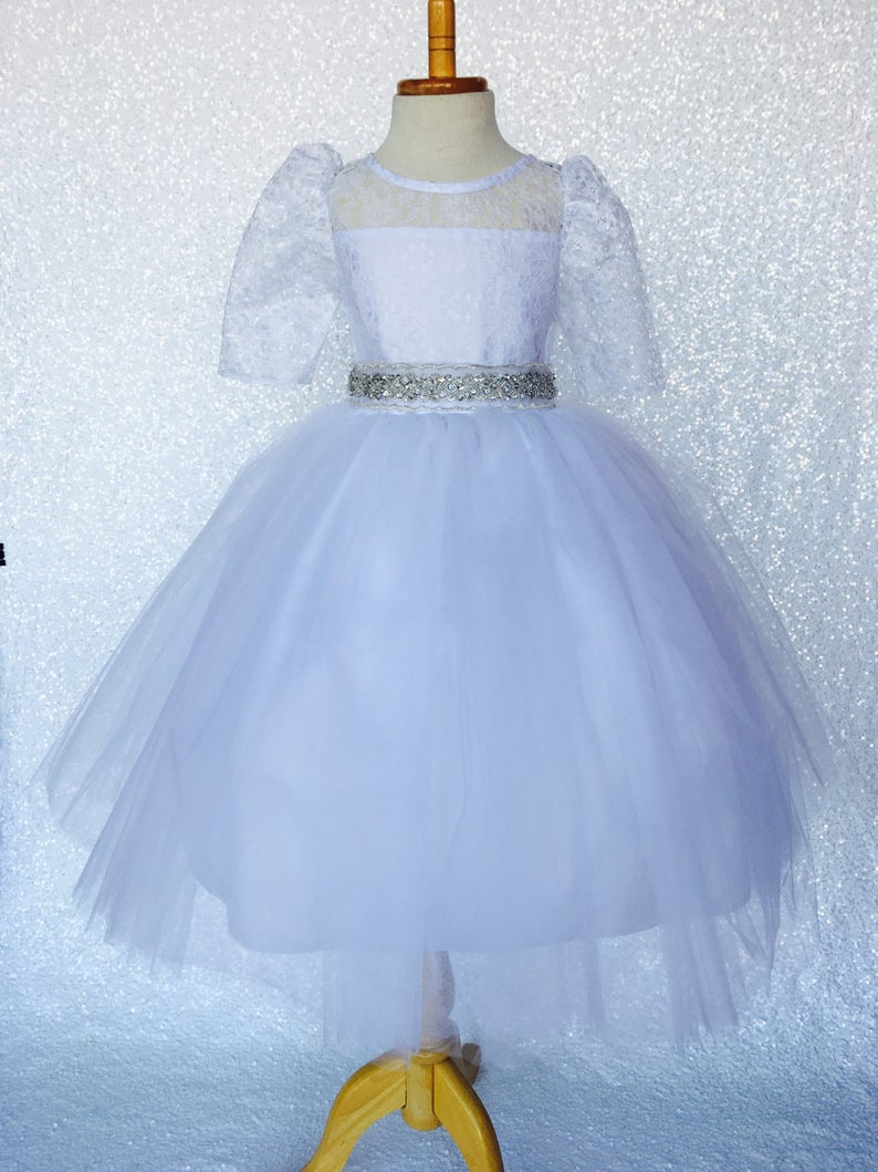 0ac0b5219ab White Tulle 4 Layer 3 4 Sleeve Lace Dress w  Sequence Satin