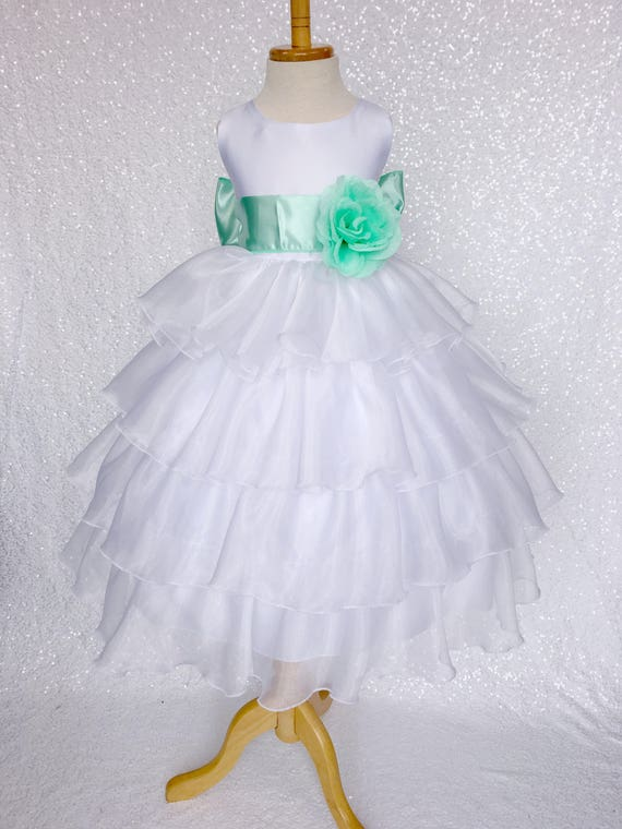 New Baby Flower Girls Mint Green Satin Organza Dress Party Easter Christmas
