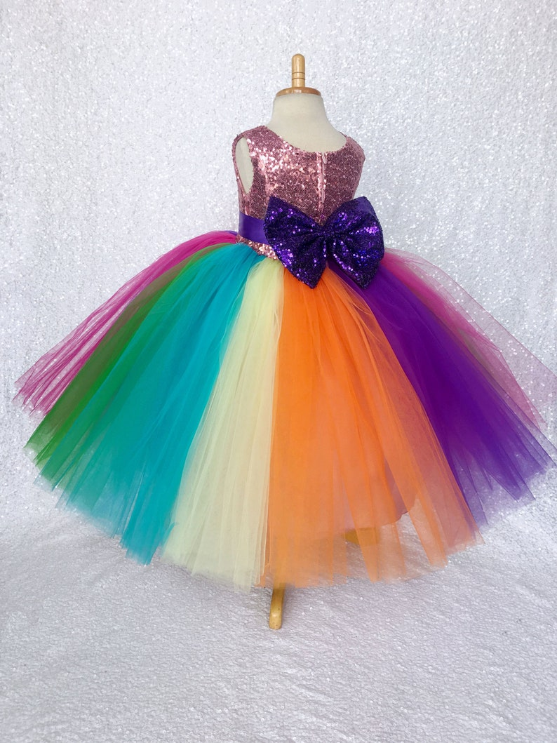 Rainbow Tulle Sequin Bow Flower Girl Gown Wedding Bridesmaid Easter Summer Toddler Infant Birthday Pageant Party Photoshoot Holiday Spring
