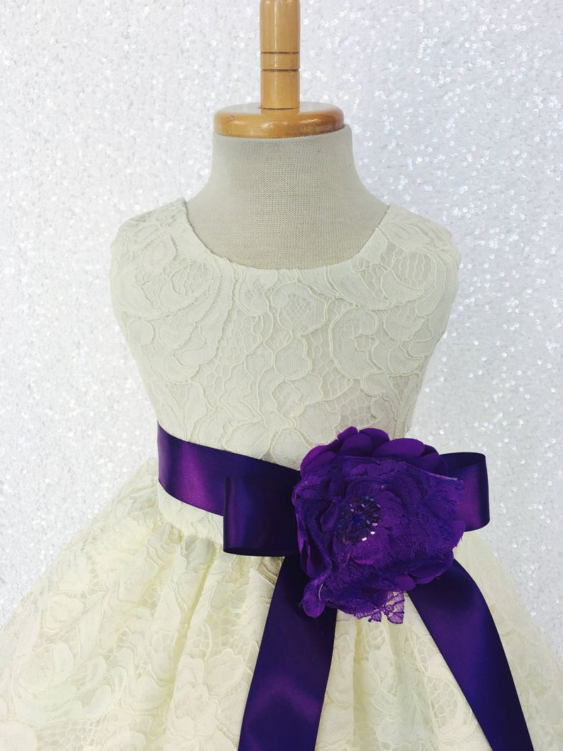 3ddde701b549 Country Rustic Off-White Ivory Lace Dress Plum Ribbon Holiday