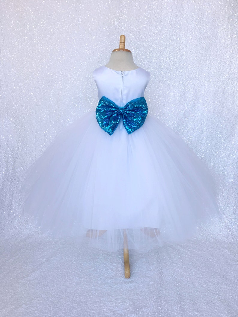 Sleeveless Flower Girl Turquoise Sequence Bow White Tulle 4 Layer Gown Wedding Bridesmaid Junior Baby Birthday Christmas Holiday Winter Fall