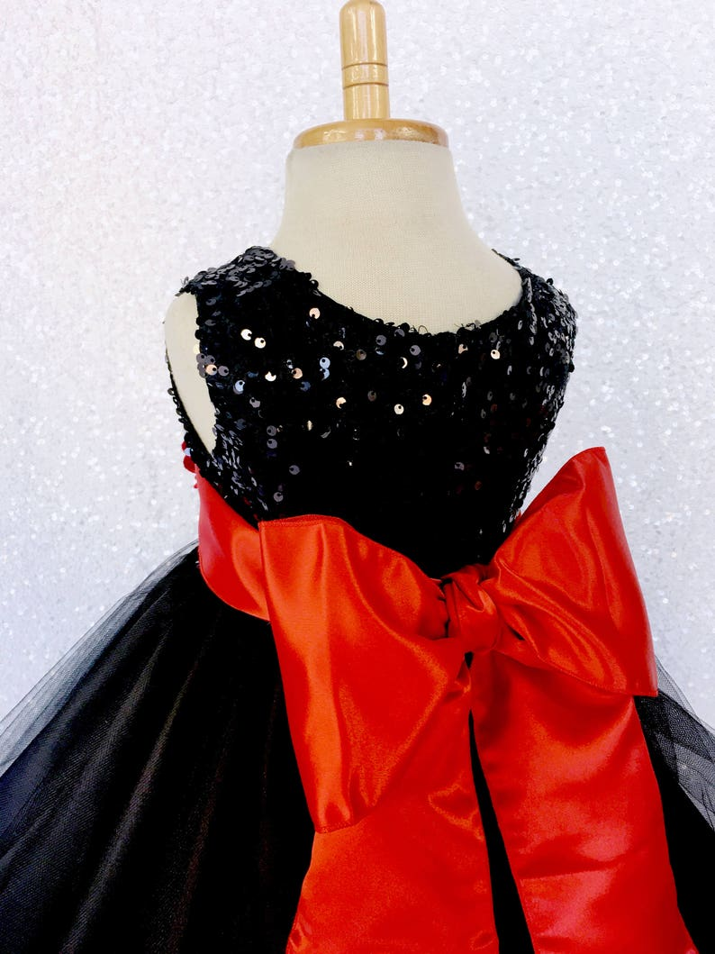 Spooky Country Sequence Black FL 2 Layer Red Satin Sash Velvet Flower Gown Wedding Halloween Birthday Photoshoot Ceremony Girl Junior Winter