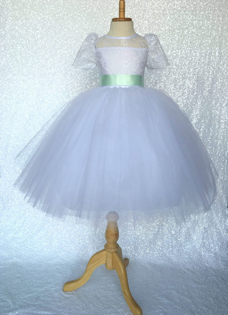 abef4637b57 White Tulle 4 Layer Short Sleeve Lace Dress w  Mint Satin
