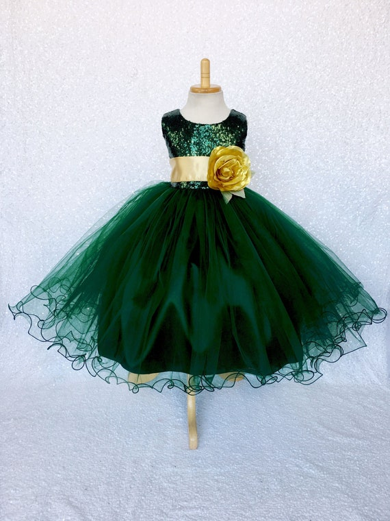 Winter Christmas Dress Hunter Green Sequin 2 Layer Sash
