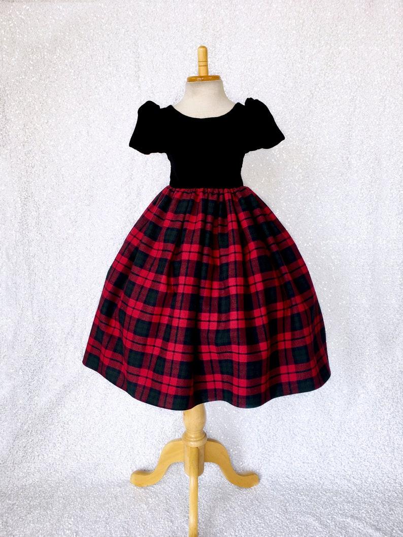 Buffalo Red Green Blue Plaid Skirt Cotton Dress Short Sleeve Velvet Wedding Birthday  Christmas Party Recital Photoshoot  2 4 6 8 10 12