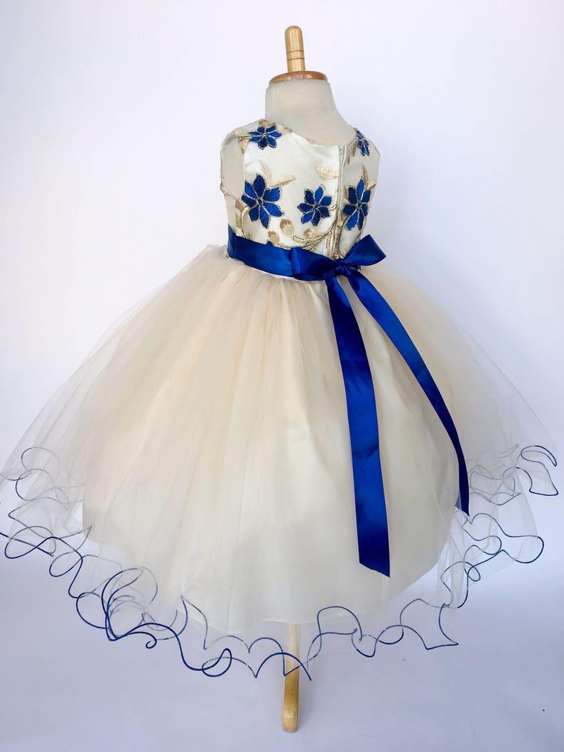 Chic Wedding Flower Girl Champagne Mesh Royal Blue Dress Newborn Infant Summer Spring Easter Country Shabby Puffy Birthday Winter Christmas