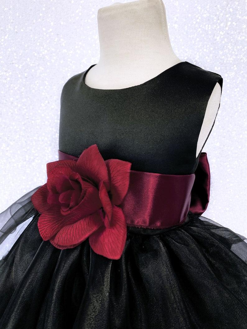 Formal Rustic Sleeveless Black Organza Ruffle Burgundy Satin Sash Gown Toddler Infant Flower Girl Birthday Pageant Christmas Halloween Fall