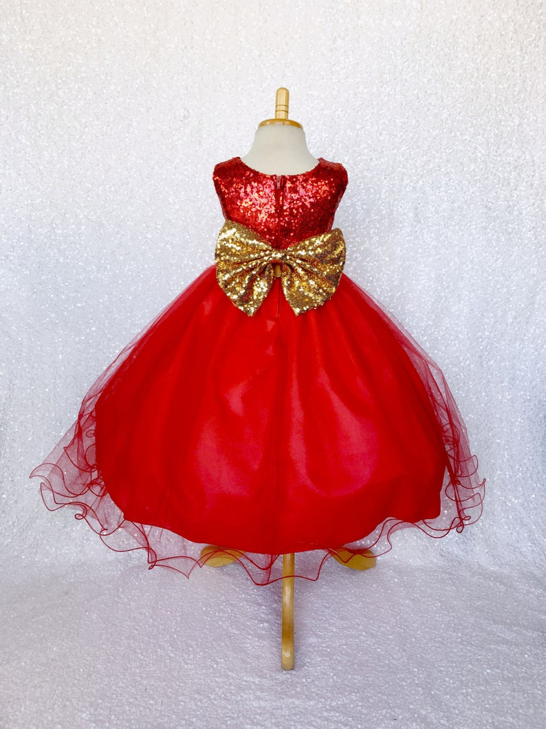 1728e089612b Mini Sequin Tulle Fishing Line Red Big Gold Bow Infant Junior | Etsy