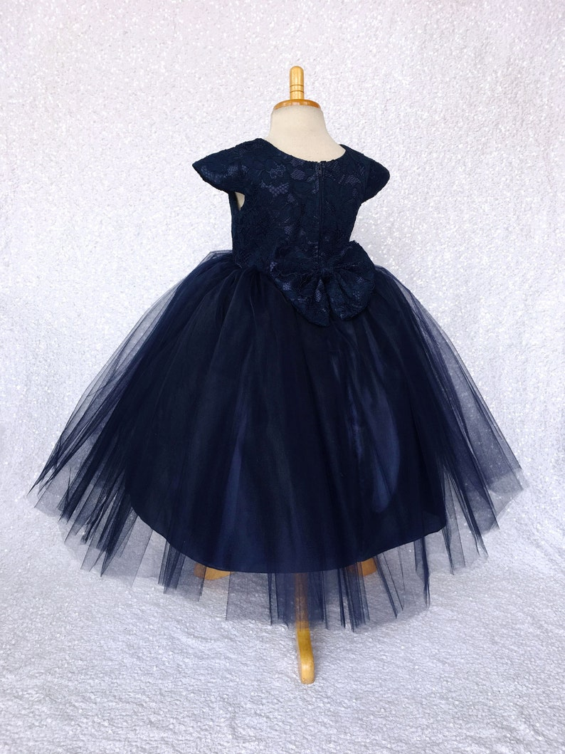 Tulle Floral French Lace 3 Layer Navy Cap Sleeve Dress Bow Ceremony Spring Summer Junior Toddler Infant Holiday Flower Girl Wedding Birthday