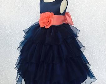 e8b11d11d8c Sleeveless Navy Organza Ruffle Dress Coral Photoshoot Birthday Recital  Graduation Bridesmaid Sizes S M L XL 2 4 6 8 10 12 14 16 Flower Girl