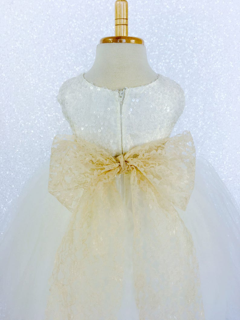 Ivory Sequin Sequence Champagne Lace Bow Tulle Flower Girl Gown Wedding Bridesmaid Country Rustic Party Fall Holiday Spring Photoshoot Fancy