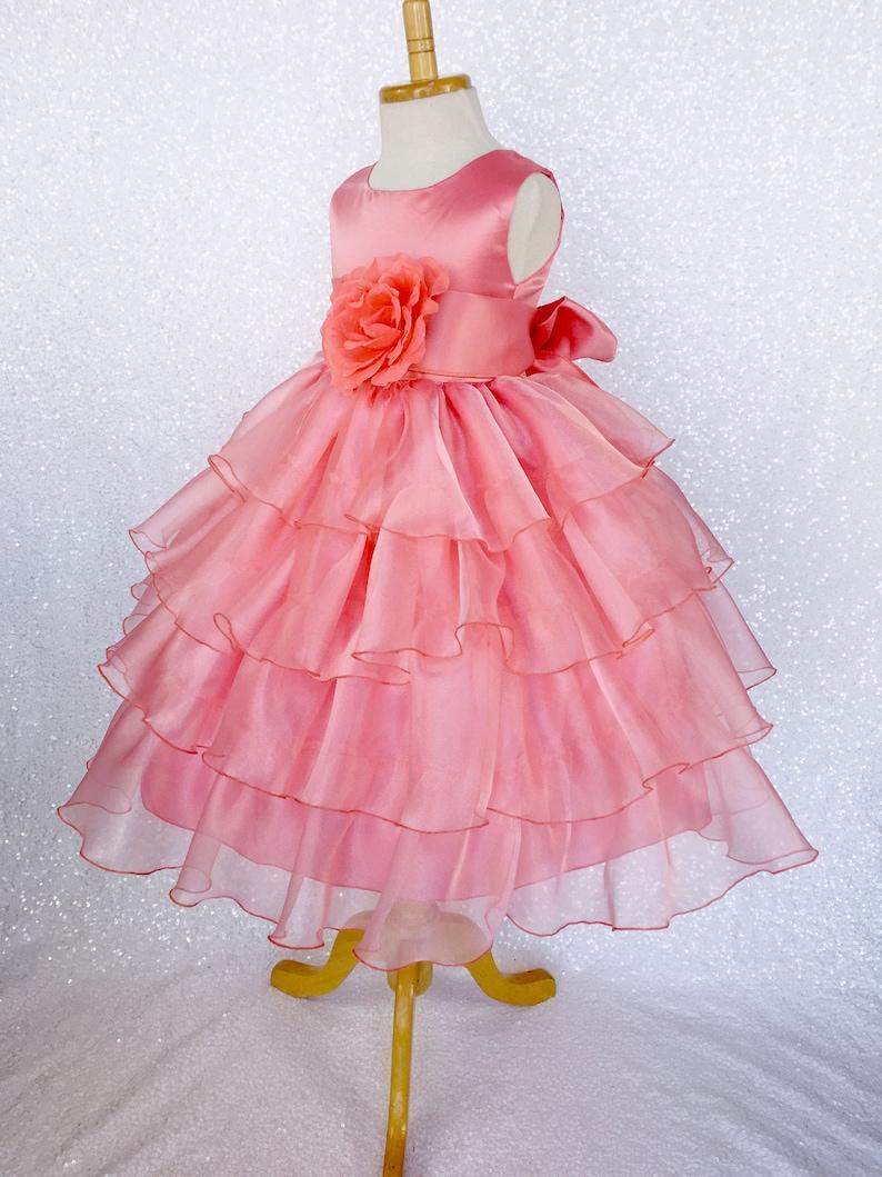 5f92d0d203f Organza Ruffle Dress Coral Satin Sash Flower Girl Gown Wedding