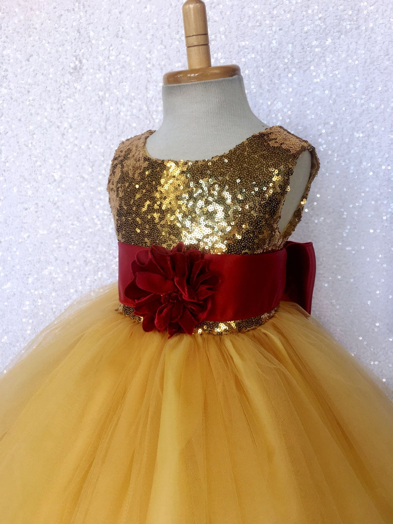 5ea62b00aa2b Gold Mini Sequin 2 Layer Fishing Line Red Sash Flower Girl | Etsy